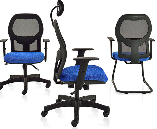 The ergonomic Cassie office chair in black and blue