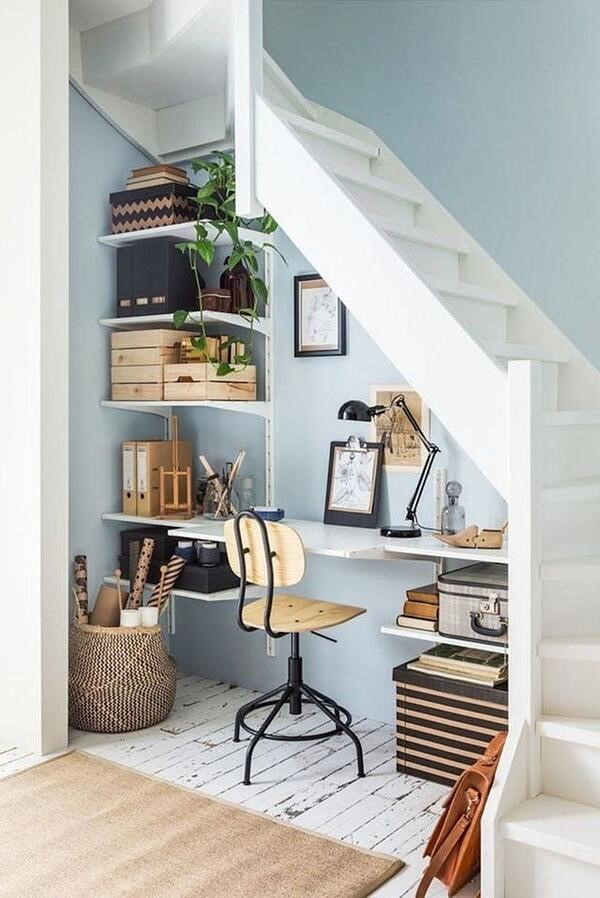 Home office in unused space below staircase