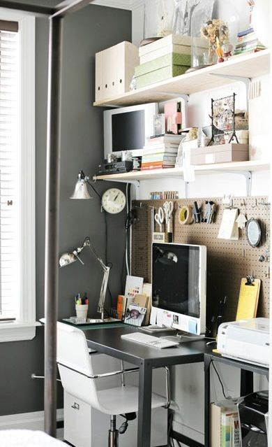 Use vertical space in your home office