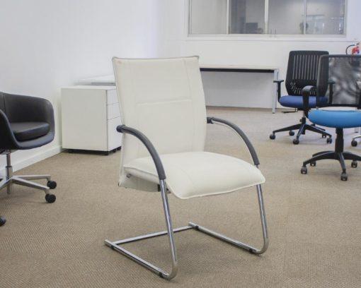 Tivoli-Arm-Chair-White-Bonded-Leather-Front