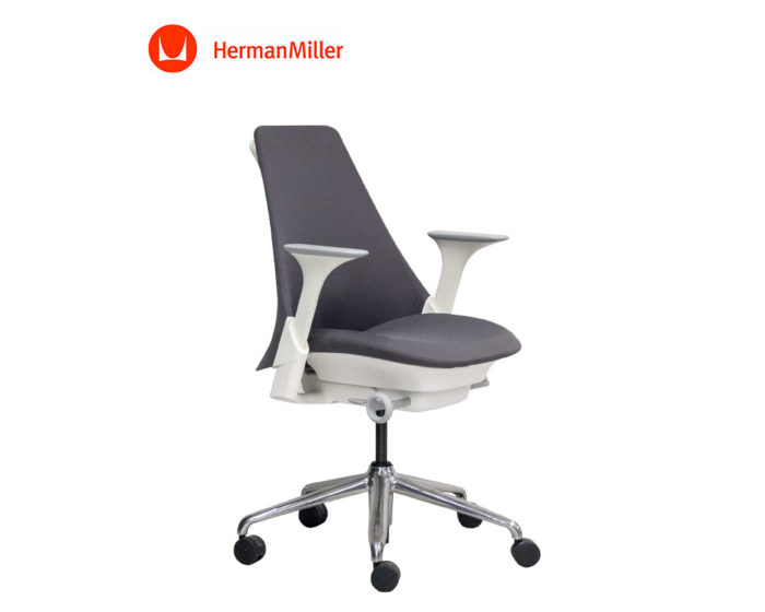 Herman-Miller-Sayl-Upholstred-Chair-Grey-Fabric-Aluminium-Base-Front