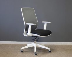 Motion-Chair-Grey-Mesh-Back-and-Black-Seat-White-Frame-Front