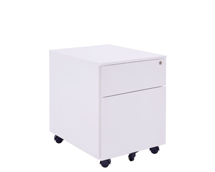 Solidline-Metal-1-Drawer-And-Filer-Mobile-Pedestal-White