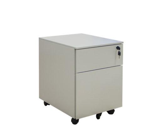 Solidline Metal 1 Drawer and Filer Mobile Pedestal Grey