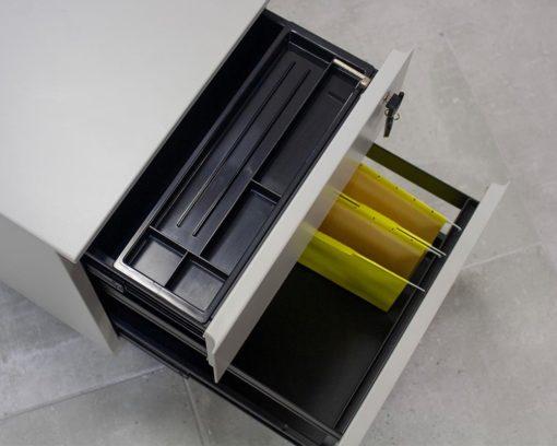 Solidline Metal 1 Drawer-and-Filer-Mobile-Pedestal-Grey-Inside