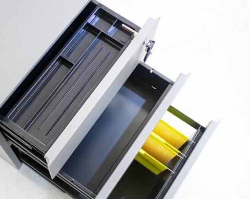 Solidline-Metal-2-Drawer-and-Filer-Mobile-Pedestal-Grey-Inside