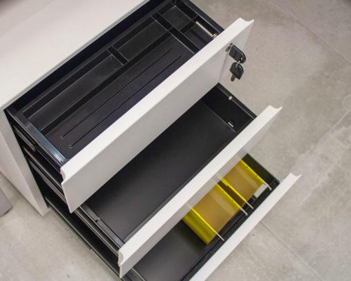 Solidline-Metal-2-Drawer-and-Filer-Mobile-Pedestal-White-Open