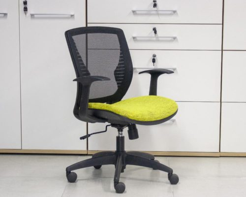 Wing-Chair-Black-Frame-Yellow-Seat-Front