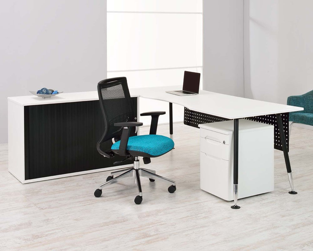 Benchmark | Office Desk with Pedestal and Credenza