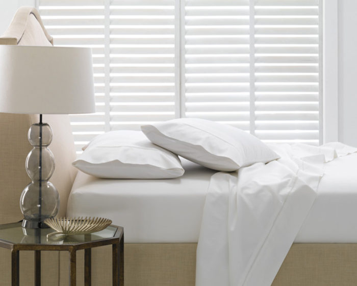 Linen House Fitted Sheet Elka Bamboo Cotton White