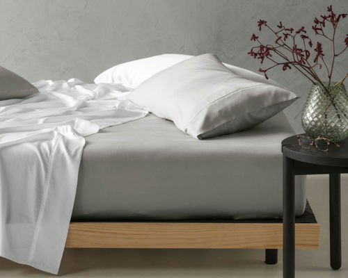 Linen House Elka Bamboo Cotton Silver Fitted Sheet