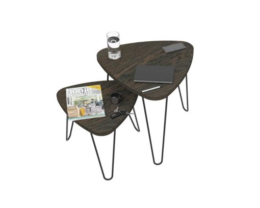 Loop Plectrum Coffee Table 480mm - Oak Monocoat Charcoal Nested Styled