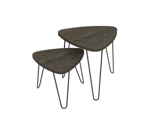 Loop Plectrum Coffee Table 480mm - Oak Monocoat Charcoal Nested Unstyled