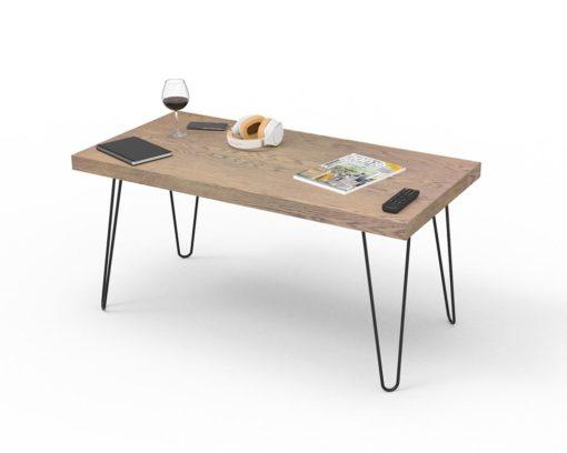 Loop Thick Rectangular Coffee Table 1200x600x50mm - Oak Monocoat Slate