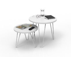 Loop Round Coffee Table 500mm - White Set Styled