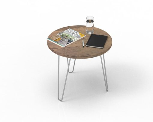 Loop Round Coffee Table 600mm - Oak Monocoat Slate Styled