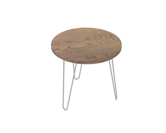 Loop Round Coffee Table 600mm - Oak Monocoat Slate Unstyled