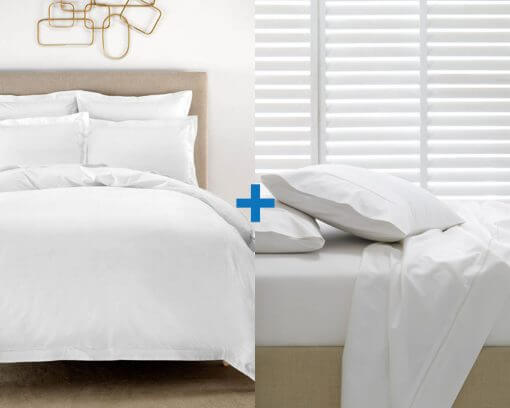 Elka Bamboo Duvet Cover and Fitted Sheet Queen White