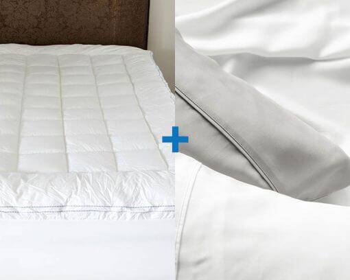 Mattress Topper King and Elke Bamboo Pillow Case Standard White