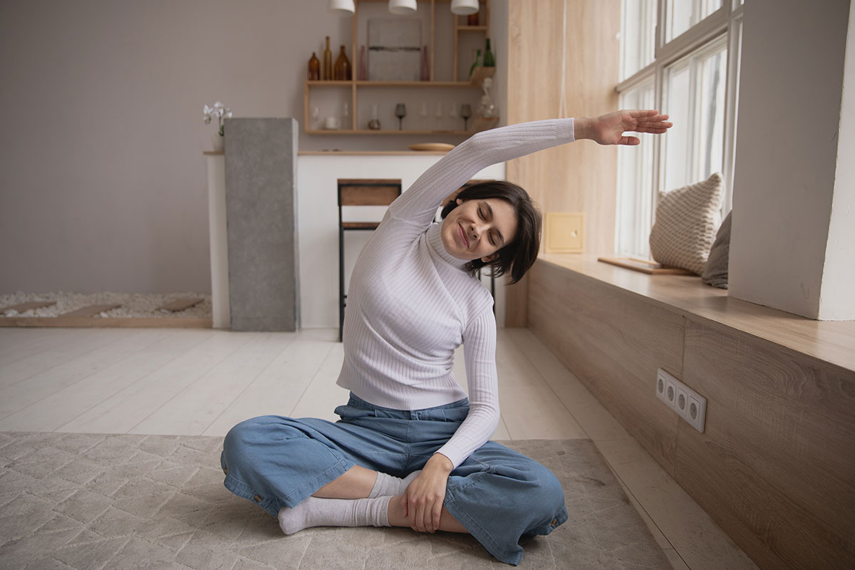 Healthy Happy Stretching Woman