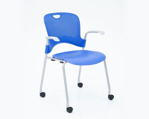 Caper Arm Chair Baltic Blue with Castors