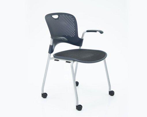 Caper Arm Chair Flexnet Seat Black with Castors