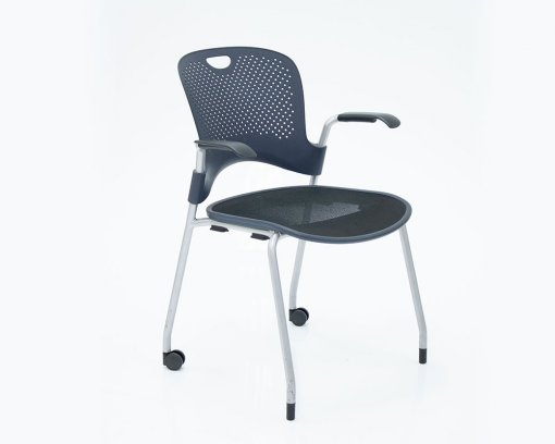 Caper Arm Chair Flexnet Seat Blue with Castors and Glides