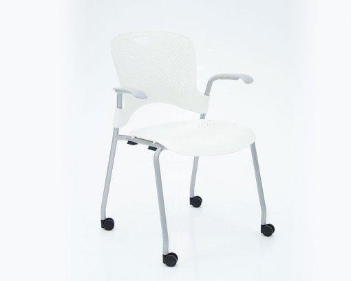 Caper Arm Chair White with Castors
