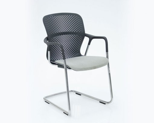 Keyn Arm Chair Chrome Frame Graphite Back Grey Seat