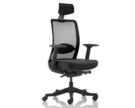 Flux Highback Office Chair | Headrest | Mesh Back | Fabric Seat