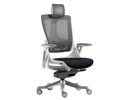 Merryfair Wau Ergonomic Chair Mesh and Fabric | White Frame Charcoal Mesh Back and Black Fabric Seat