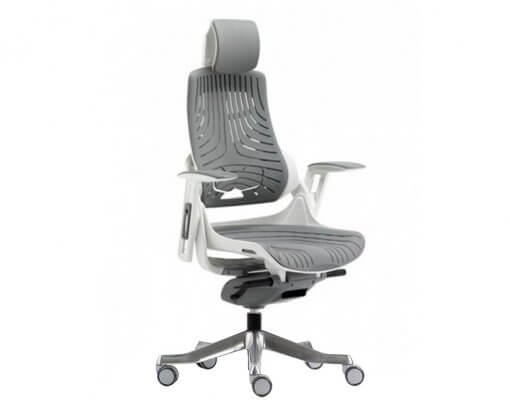 Merryfair Wau Ergonomic Chair TPE | White Frame Grey TPE Back and Seat