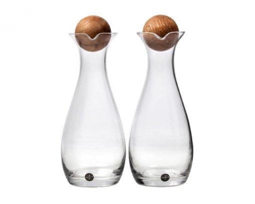 Sagaform Oil & Vinegar Carafes with Oak Stopper 300ml Set of 2